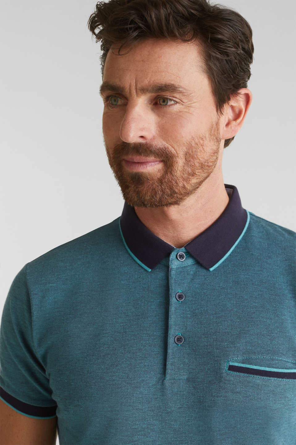 Piqué polo shirt made of 100% organic cotton, TEAL GREEN 2, detail image number 5