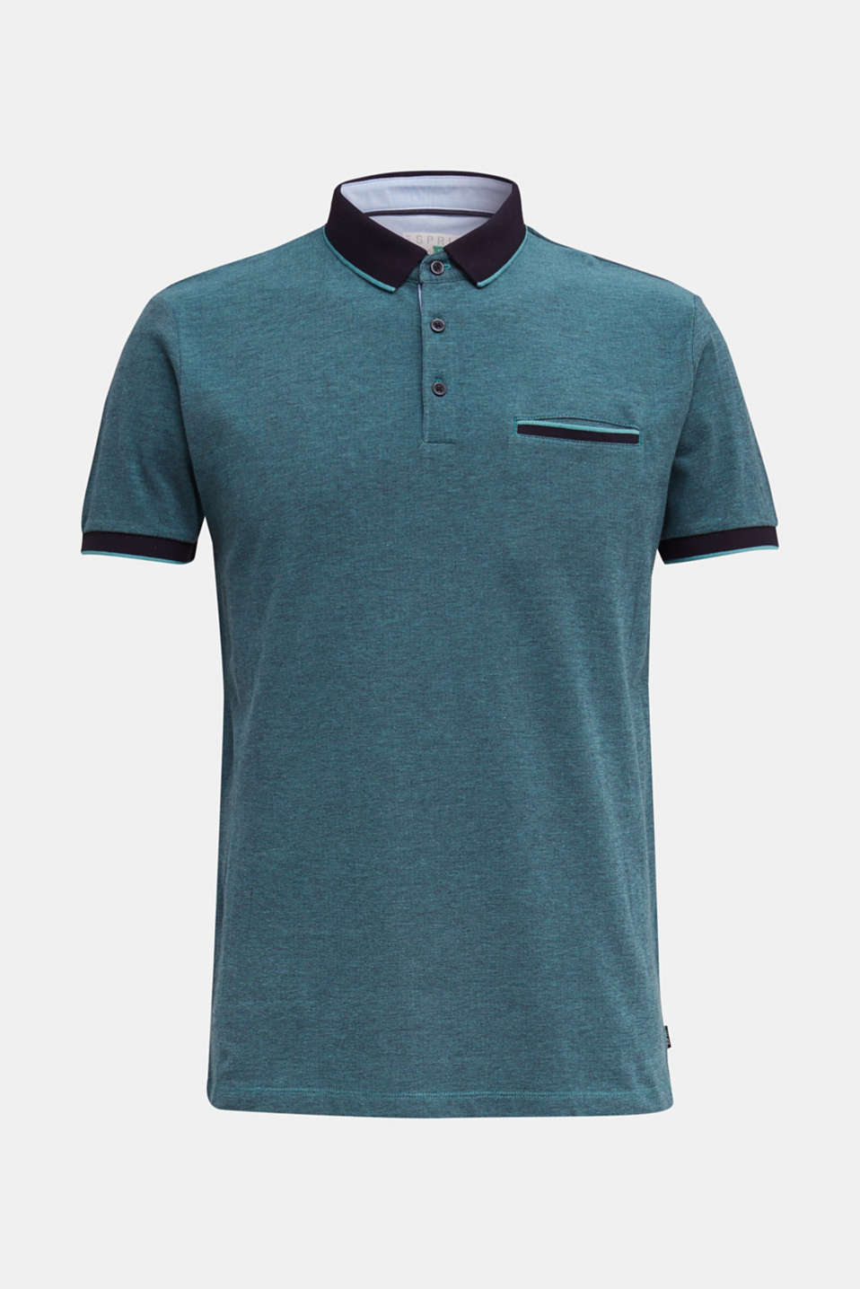 Piqué polo shirt made of 100% organic cotton, TEAL GREEN 2, detail image number 6