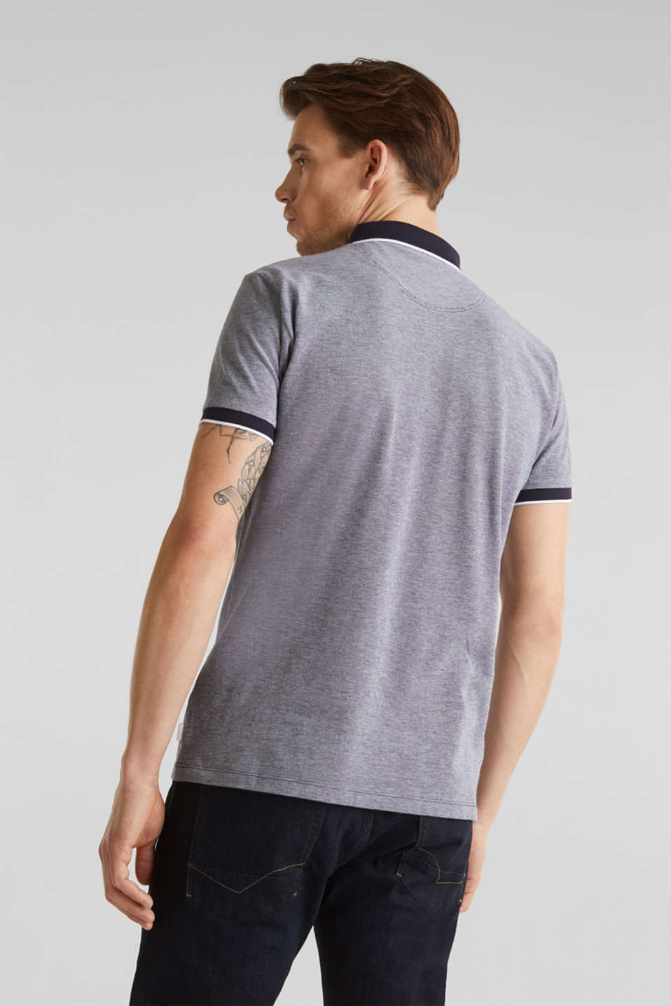 Piqué polo shirt, 100% organic cotton, NAVY 2, detail image number 3