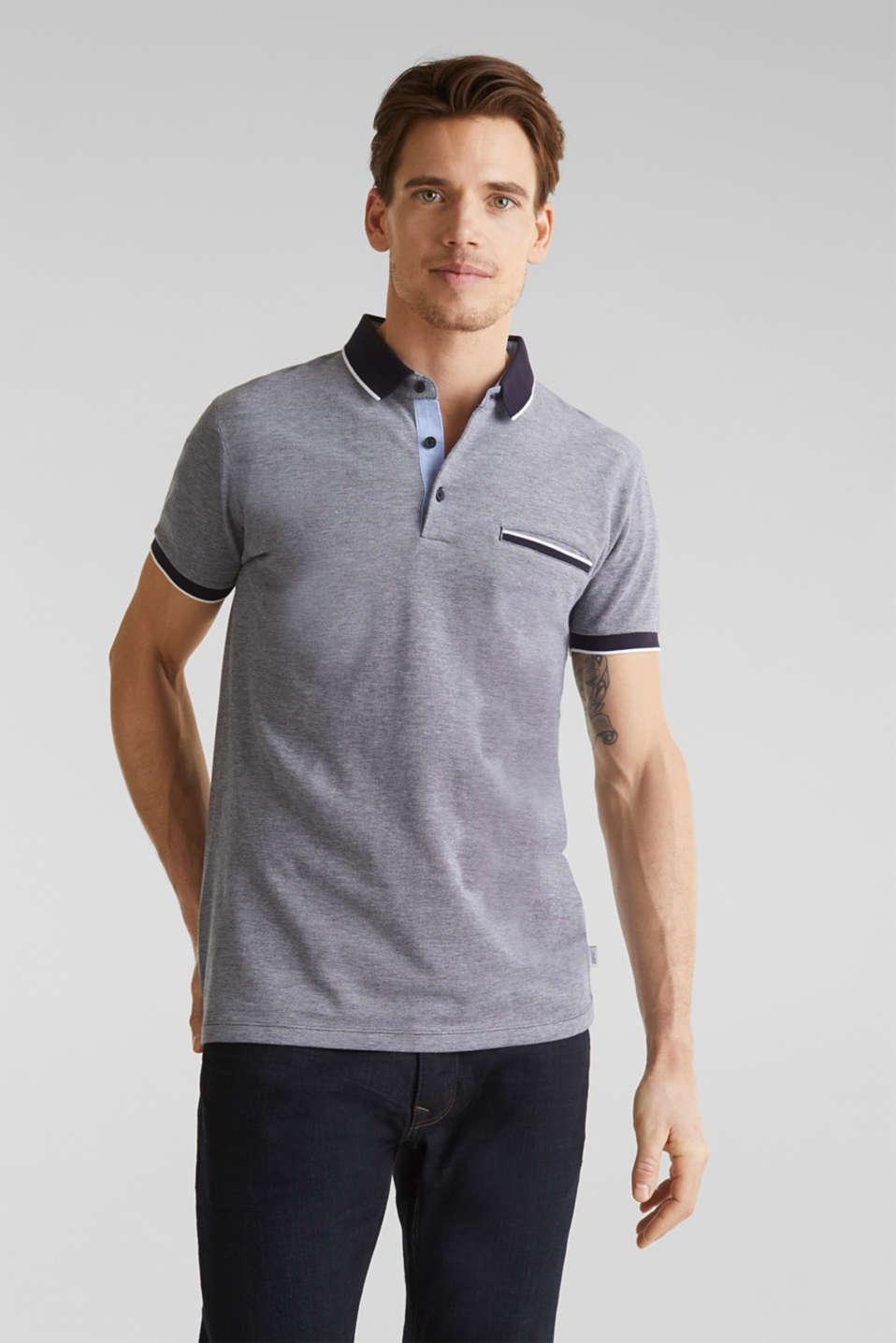 Piqué polo shirt, 100% organic cotton, NAVY 2, detail image number 4