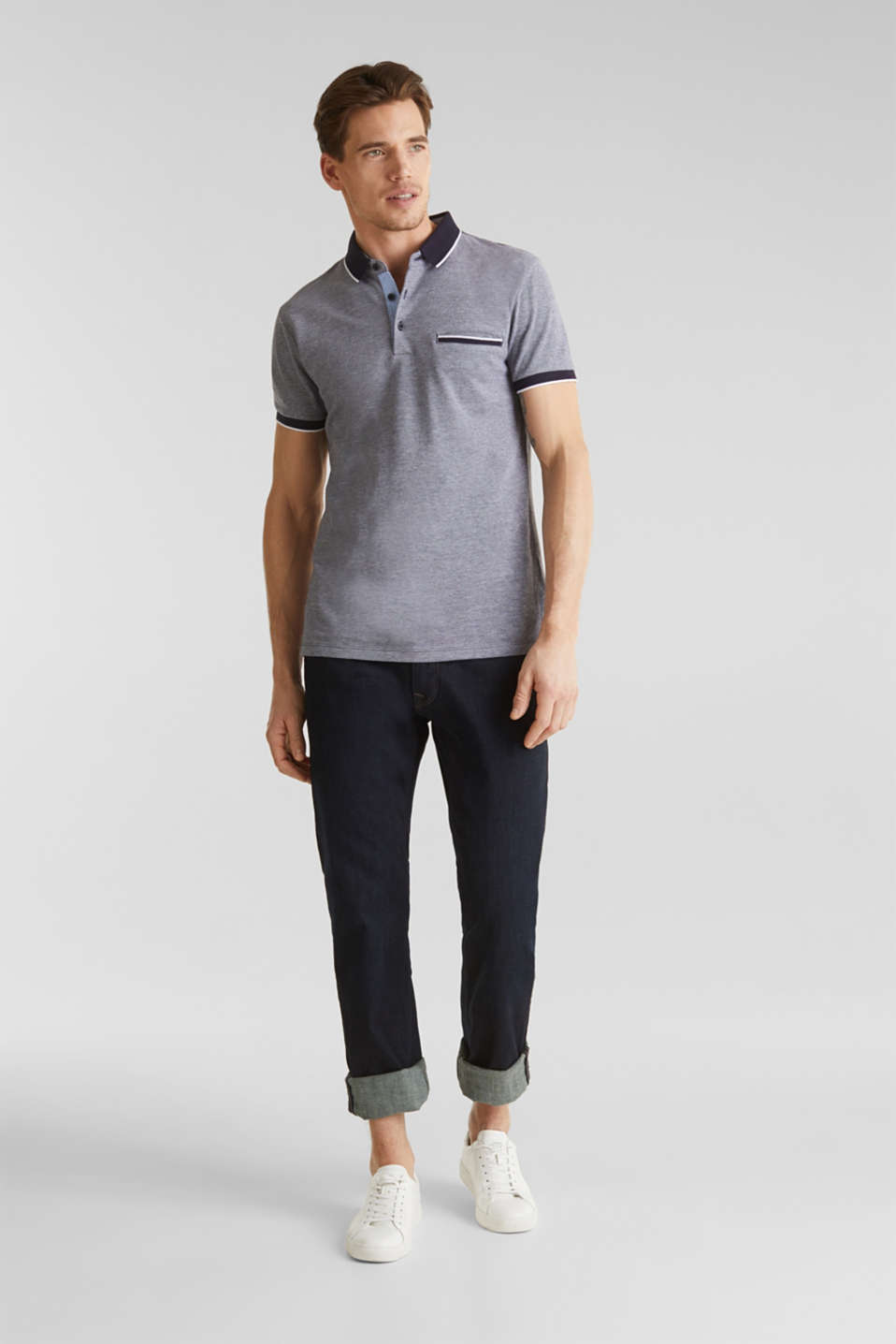 Piqué polo shirt, 100% organic cotton, NAVY 2, detail image number 2