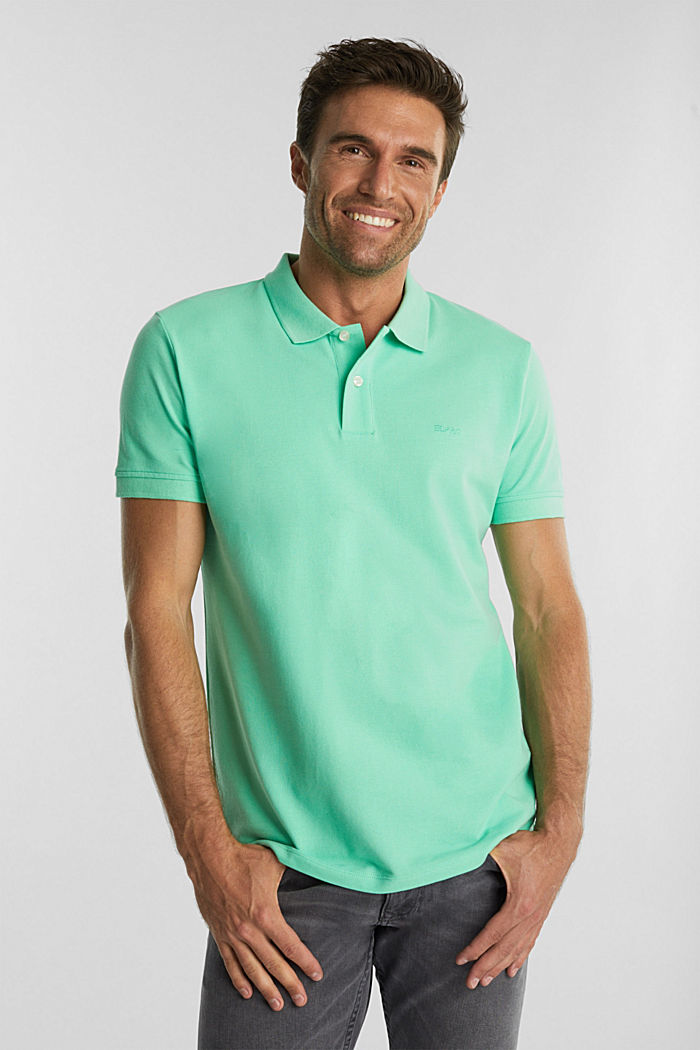 Piqué polo shirt made of 100% organic cotton, LIGHT GREEN, detail image number 0