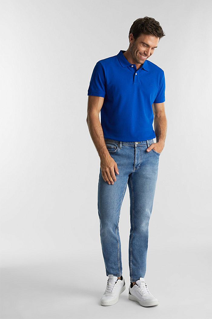 Piqué polo shirt made of 100% organic cotton, BRIGHT BLUE, detail image number 2