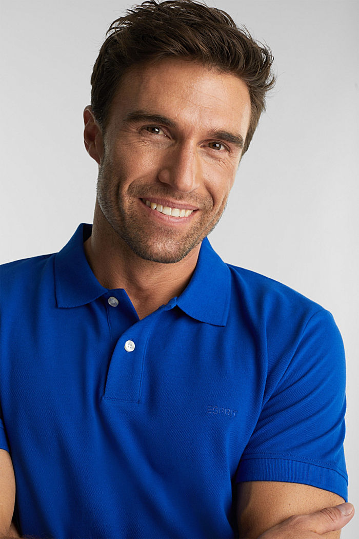 Piqué polo shirt made of 100% organic cotton, BRIGHT BLUE, detail image number 5