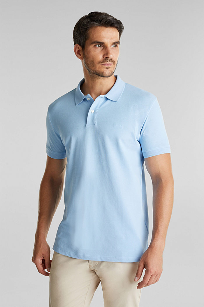 Piqué polo shirt made of 100% organic cotton, LIGHT BLUE, detail image number 0