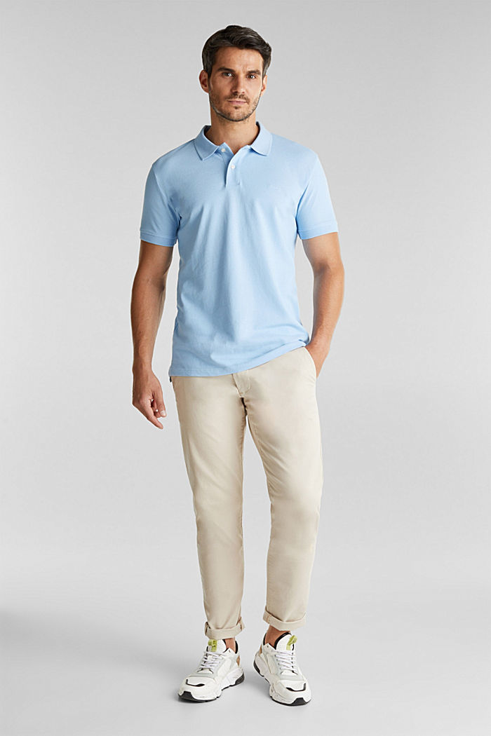 Piqué polo shirt made of 100% organic cotton, LIGHT BLUE, detail image number 2