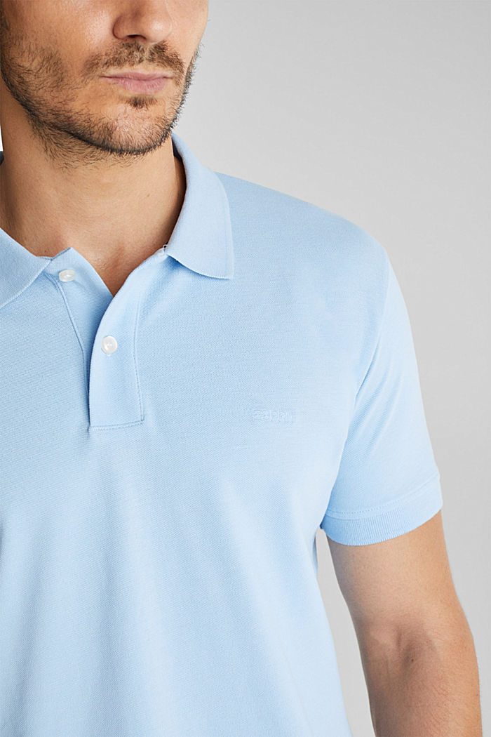 Piqué polo shirt made of 100% organic cotton, LIGHT BLUE, detail image number 1