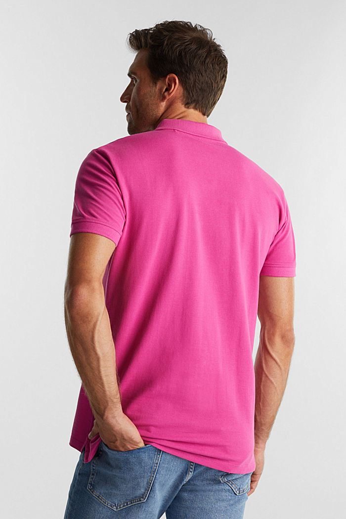 Piqué-Poloshirt aus 100% Organic Cotton, PINK FUCHSIA, detail image number 3