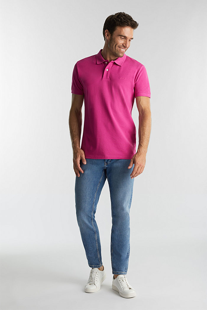 Piqué polo shirt made of 100% organic cotton, PINK FUCHSIA, detail image number 2