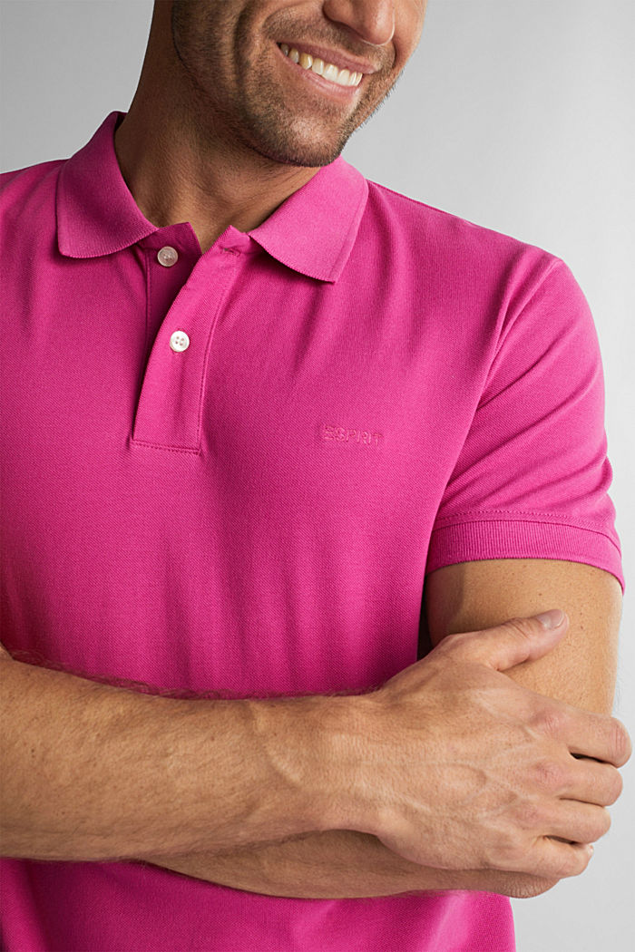 Piqué polo shirt made of 100% organic cotton, PINK FUCHSIA, detail image number 1