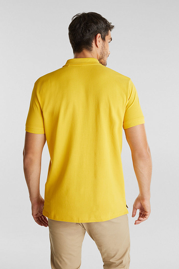Piqué polo shirt made of 100% organic cotton, YELLOW, detail image number 3