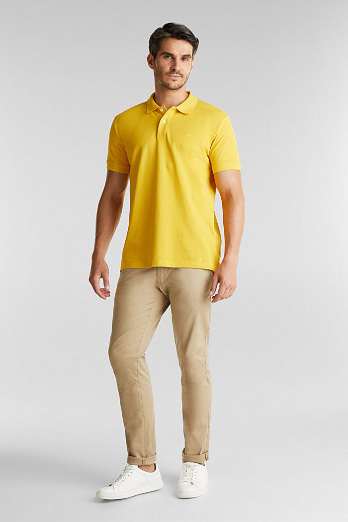 Piqué polo shirt made of 100% organic cotton, YELLOW, detail image number 2