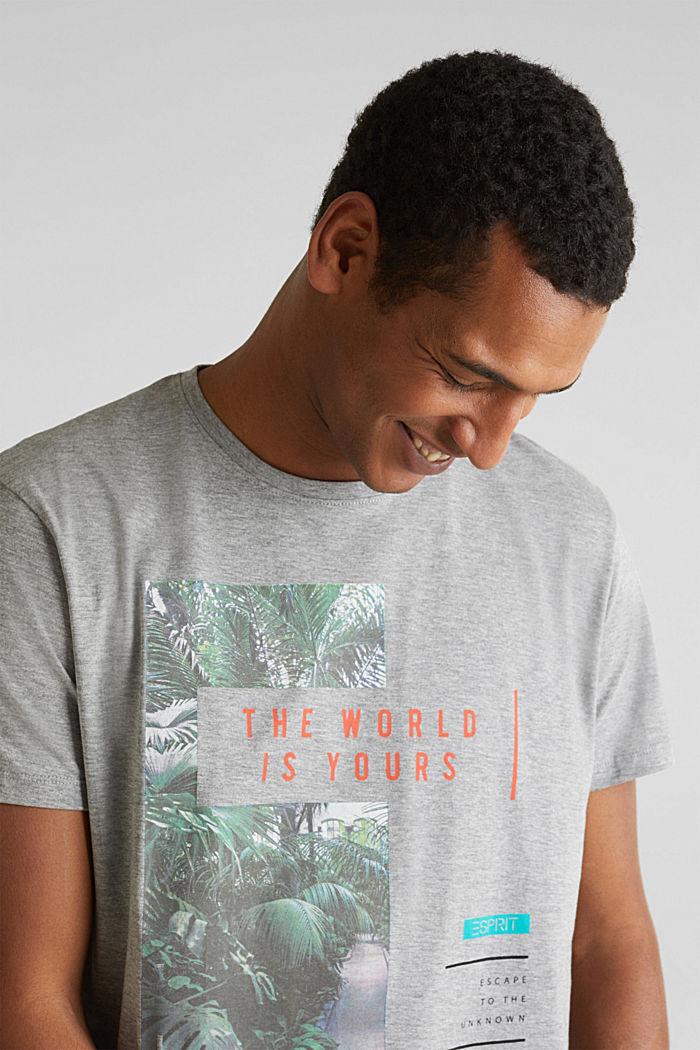 Gemêleerd jersey shirt met print, MEDIUM GREY, detail image number 1