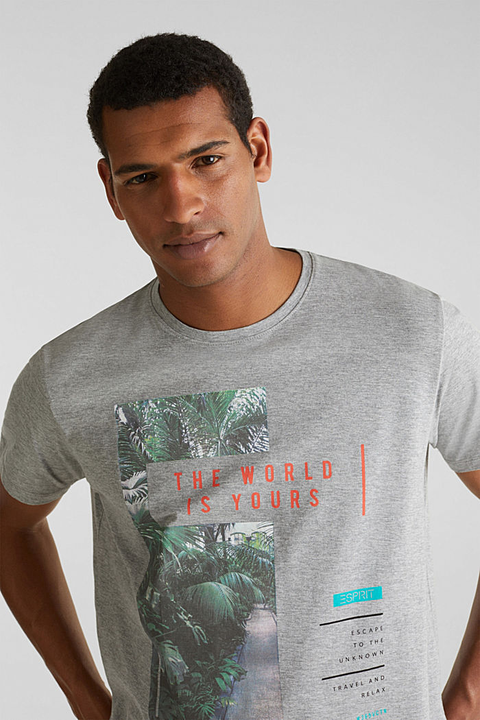 Gemêleerd jersey shirt met print, MEDIUM GREY, detail image number 5