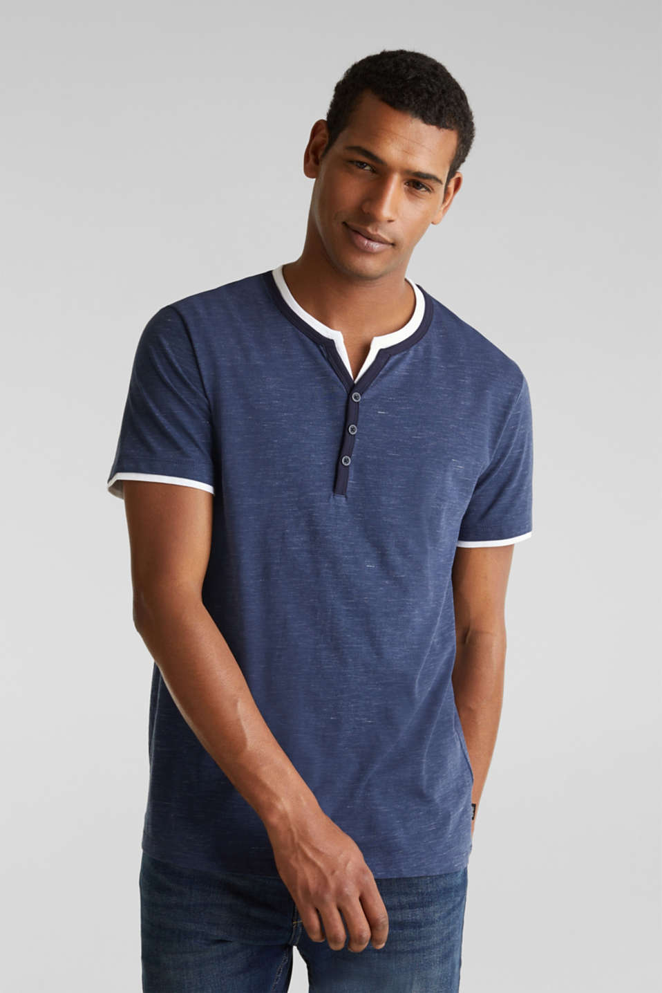 Henley top in jersey with layered details, NAVY 5, detail image number 0