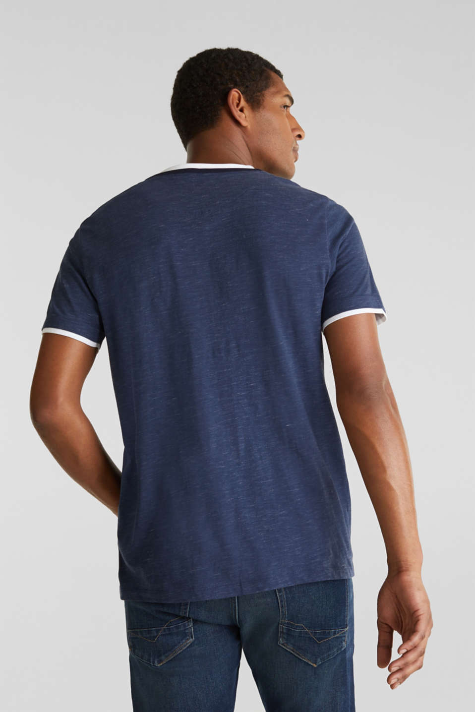 Henley top in jersey with layered details, NAVY 5, detail image number 3
