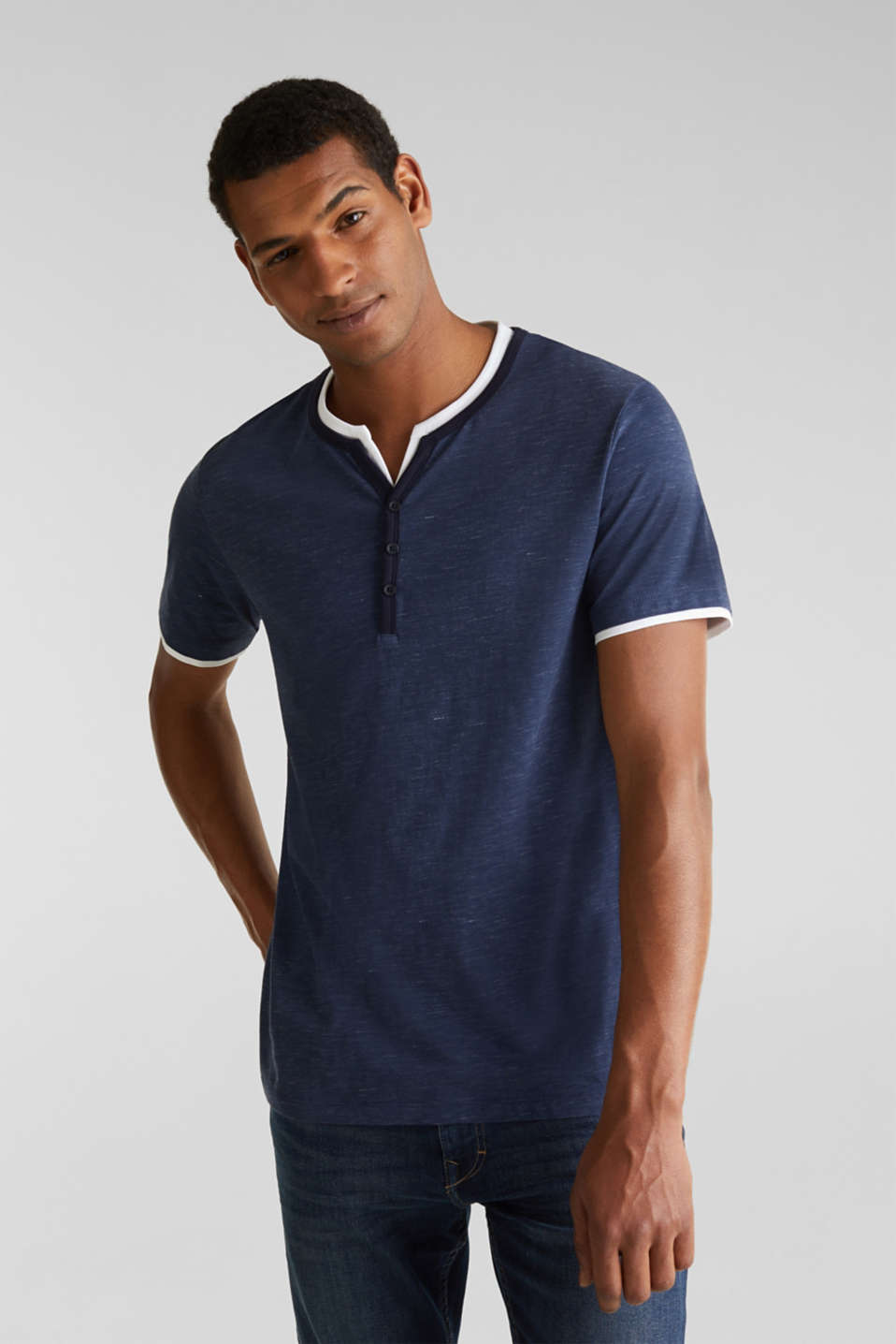 Henley top in jersey with layered details, NAVY 5, detail image number 4