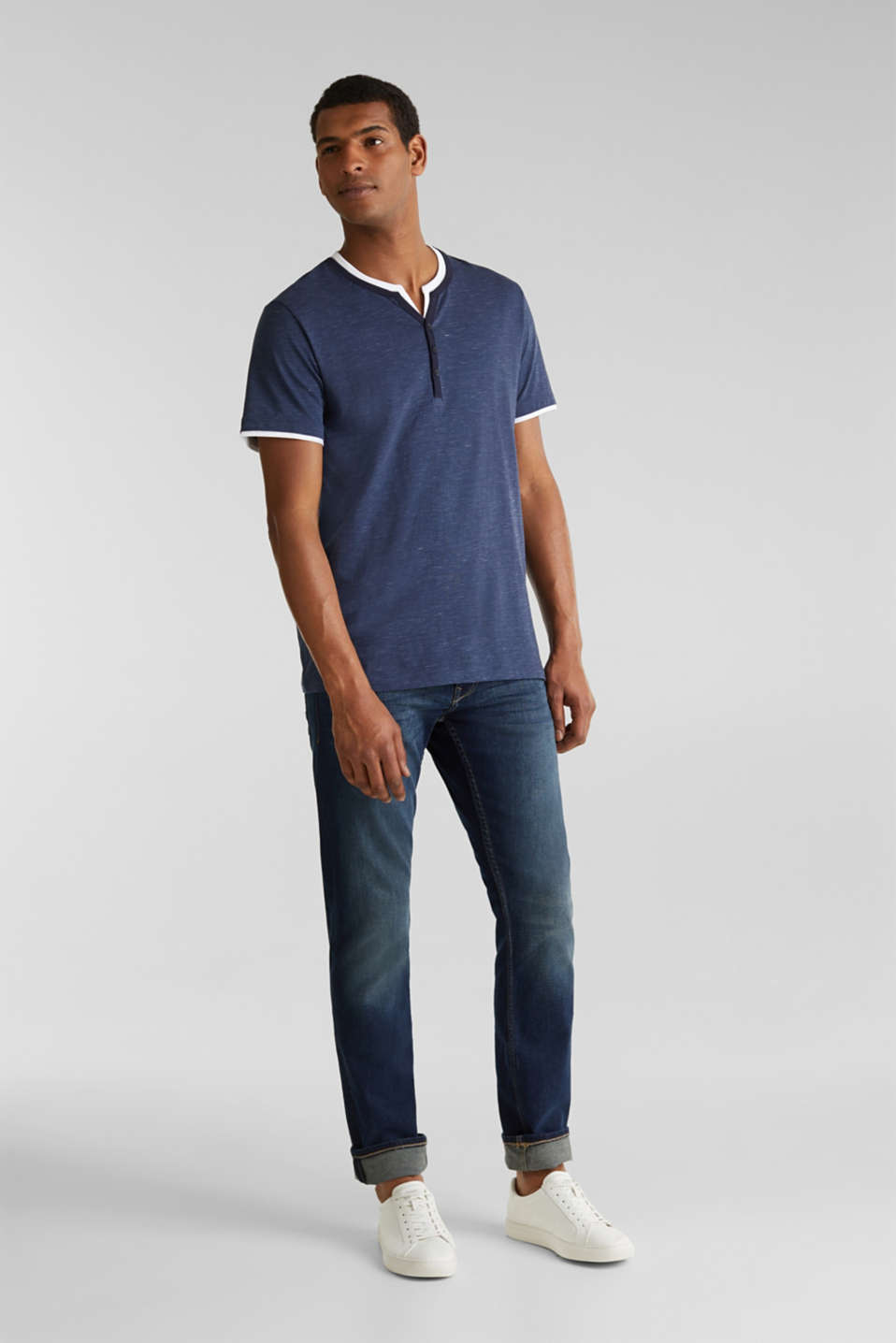 Henley top in jersey with layered details, NAVY 5, detail image number 7