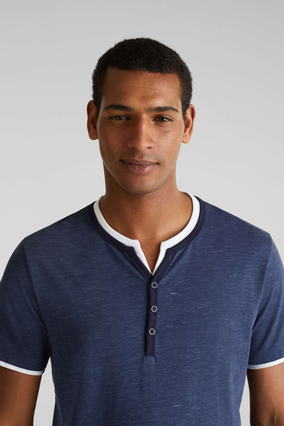 Henley top in jersey with layered details, NAVY 5, detail image number 6