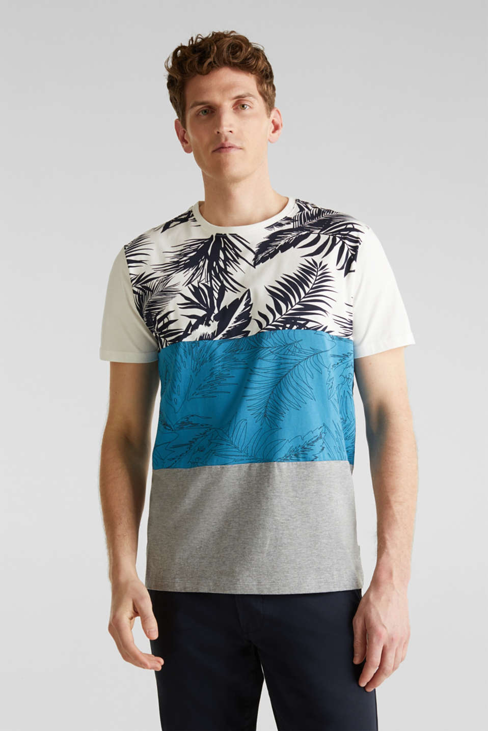 Colour block jersey T-shirt with a palm tree print, PETROL BLUE 3, detail image number 0