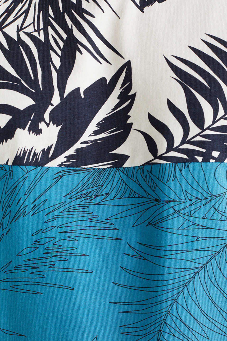 Colour block jersey T-shirt with a palm tree print, PETROL BLUE 3, detail image number 4