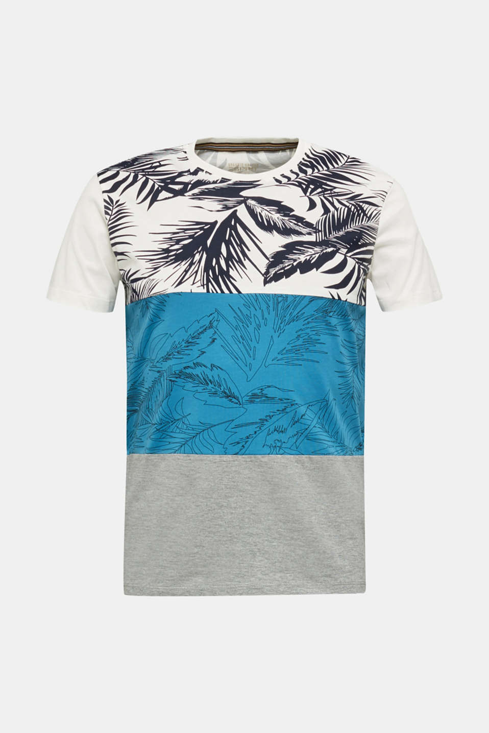 Colour block jersey T-shirt with a palm tree print, PETROL BLUE 3, detail image number 5