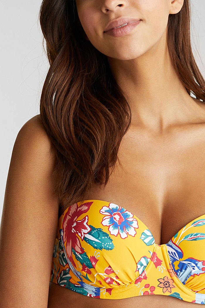 Printed, padded underwire bikini top, SUNFLOWER YELLOW, detail image number 2