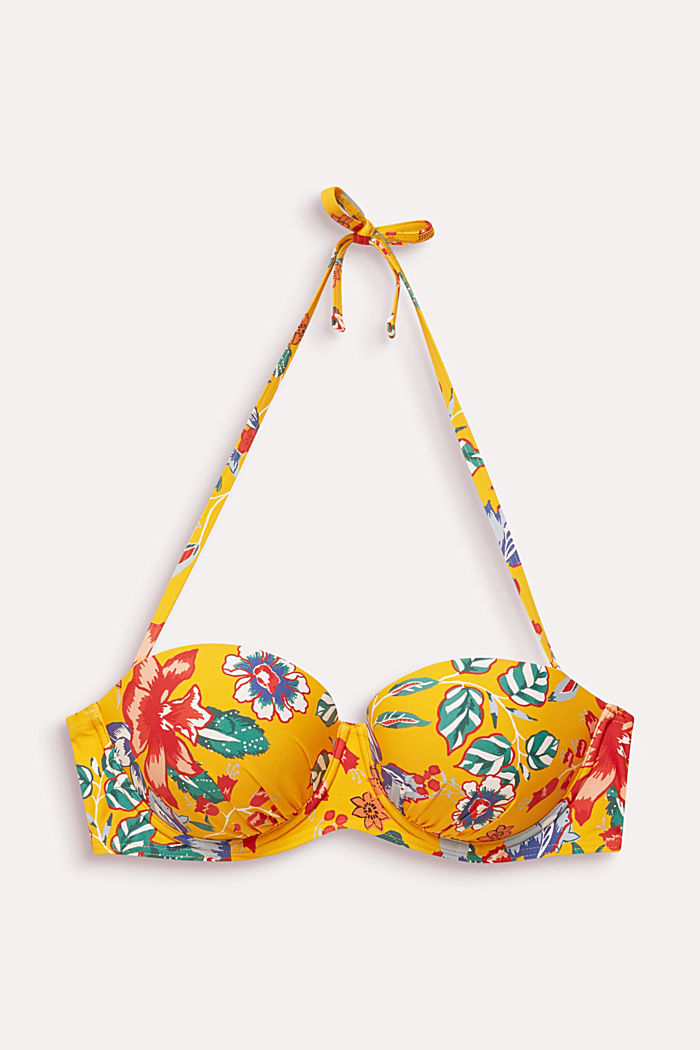 Printed, padded underwire bikini top, SUNFLOWER YELLOW, detail image number 4