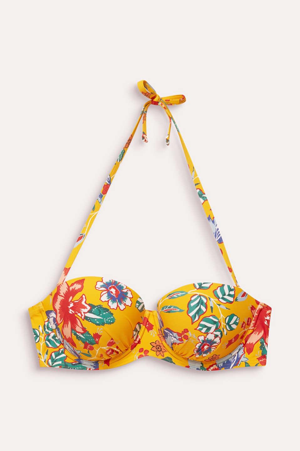 Printed, padded underwire bikini top, SUNFLOWER YELLOW, detail image number 4