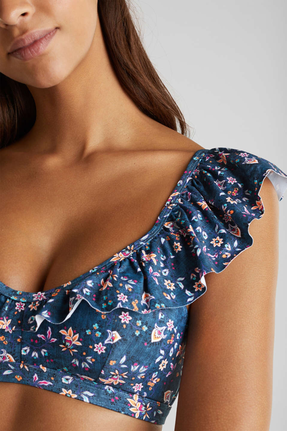Padded top with frills, GREY BLUE, detail image number 2