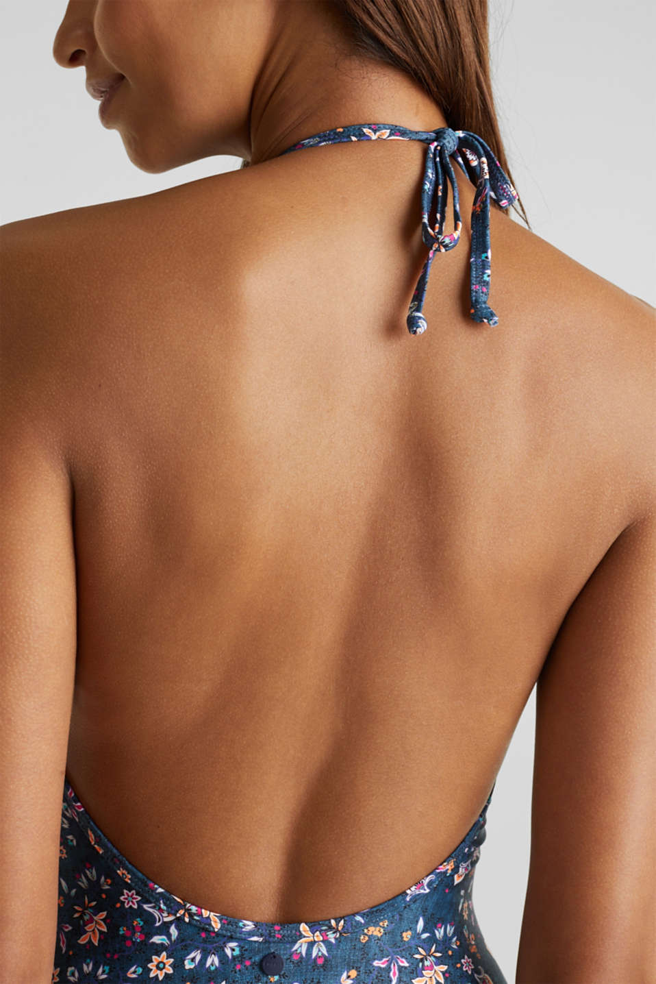 Padded denim look swimsuit, GREY BLUE, detail image number 3