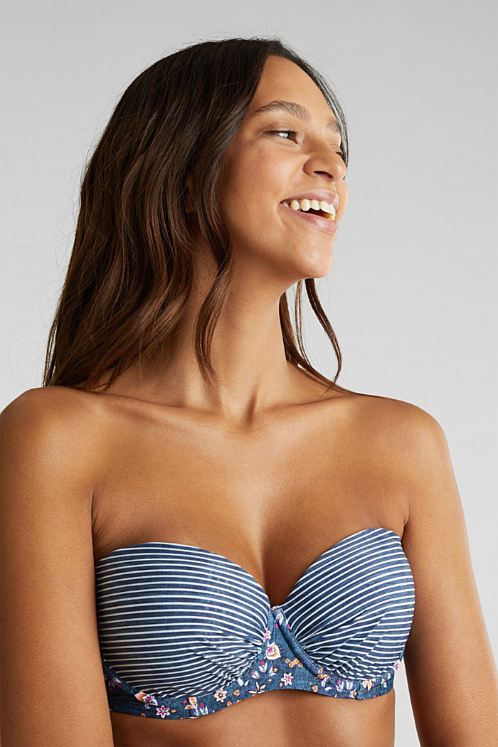 Padded, underwire bandeau top, GREY BLUE, detail image number 3