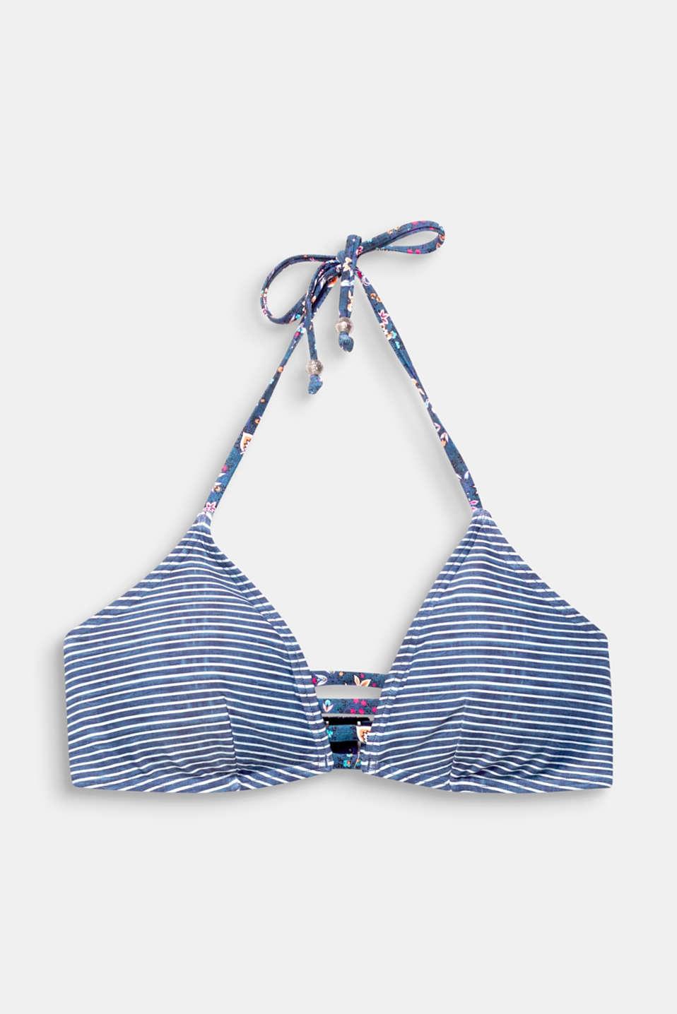 Halterneck top in a denim look, GREY BLUE, detail image number 3