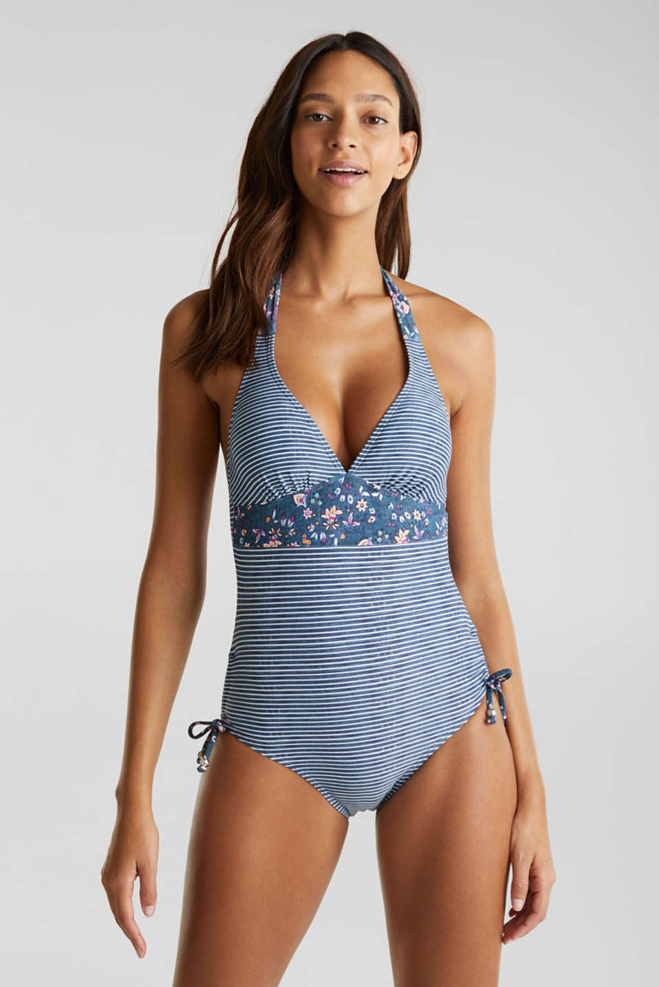 Padded swimsuit in a denim look, GREY BLUE, detail image number 0