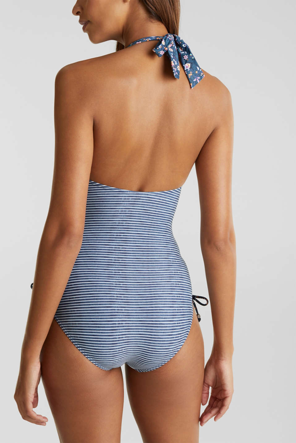 Padded swimsuit in a denim look, GREY BLUE, detail image number 1
