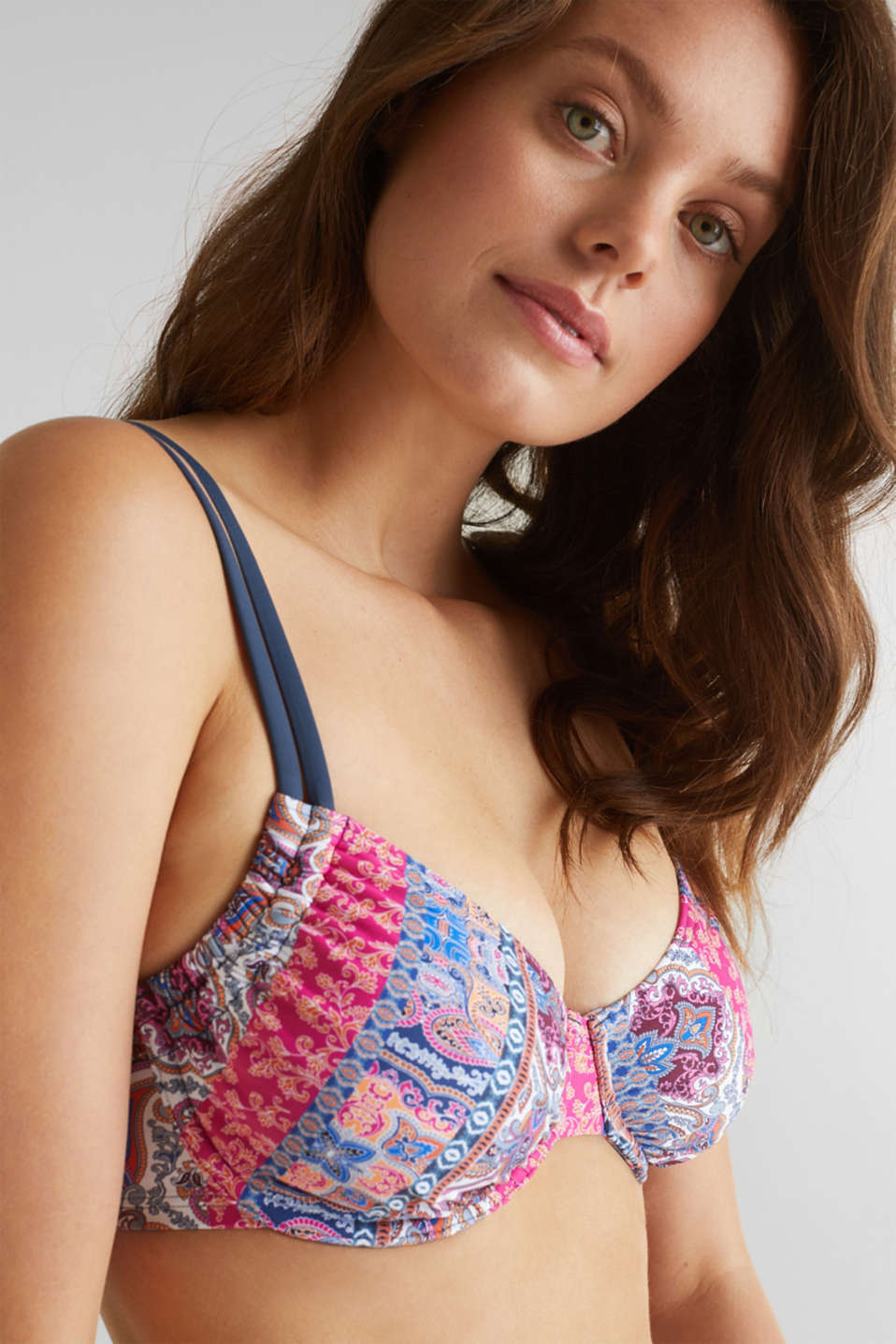 Unpadded underwire top for larger cups, GREY BLUE, detail image number 3