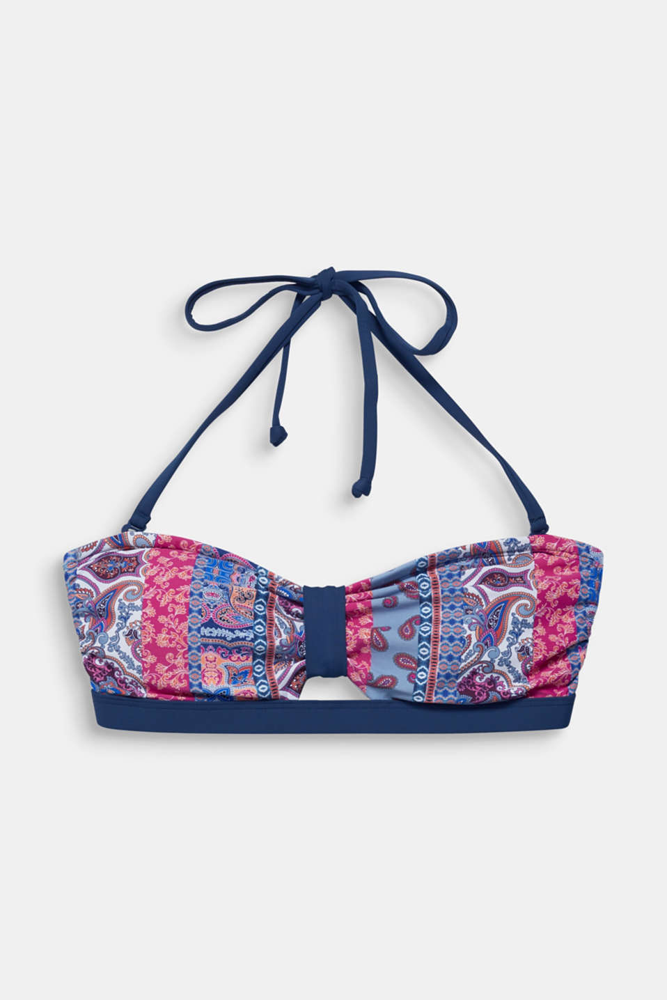 Padded bandeau top with print, GREY BLUE, detail image number 4