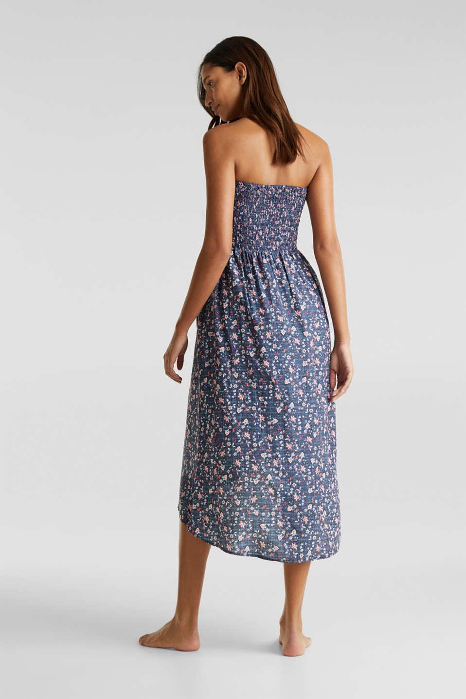 Gesmoktes Kleid mit High-Low-Saum, GREY BLUE, detail image number 1