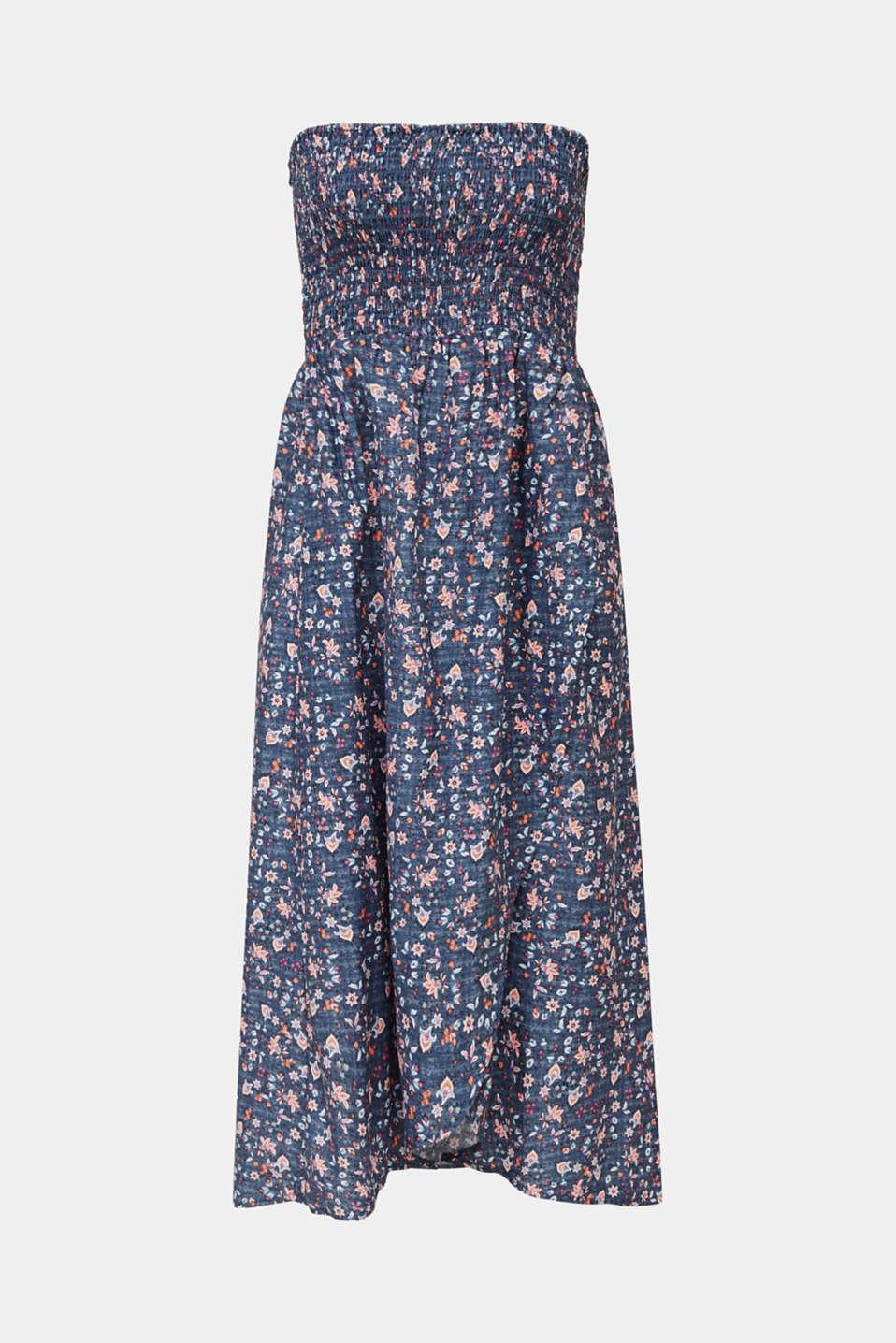 Gesmoktes Kleid mit High-Low-Saum, GREY BLUE, detail image number 2