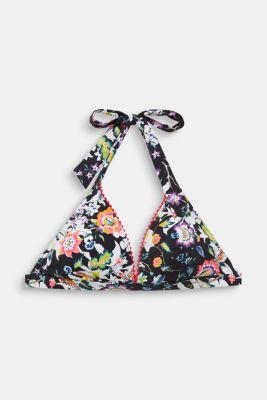 Printed, padded halterneck bikini top, BLACK, detail