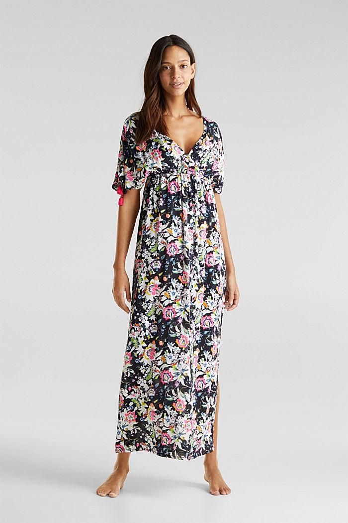 Lang kjole med blomsterprint, BLACK, detail image number 0