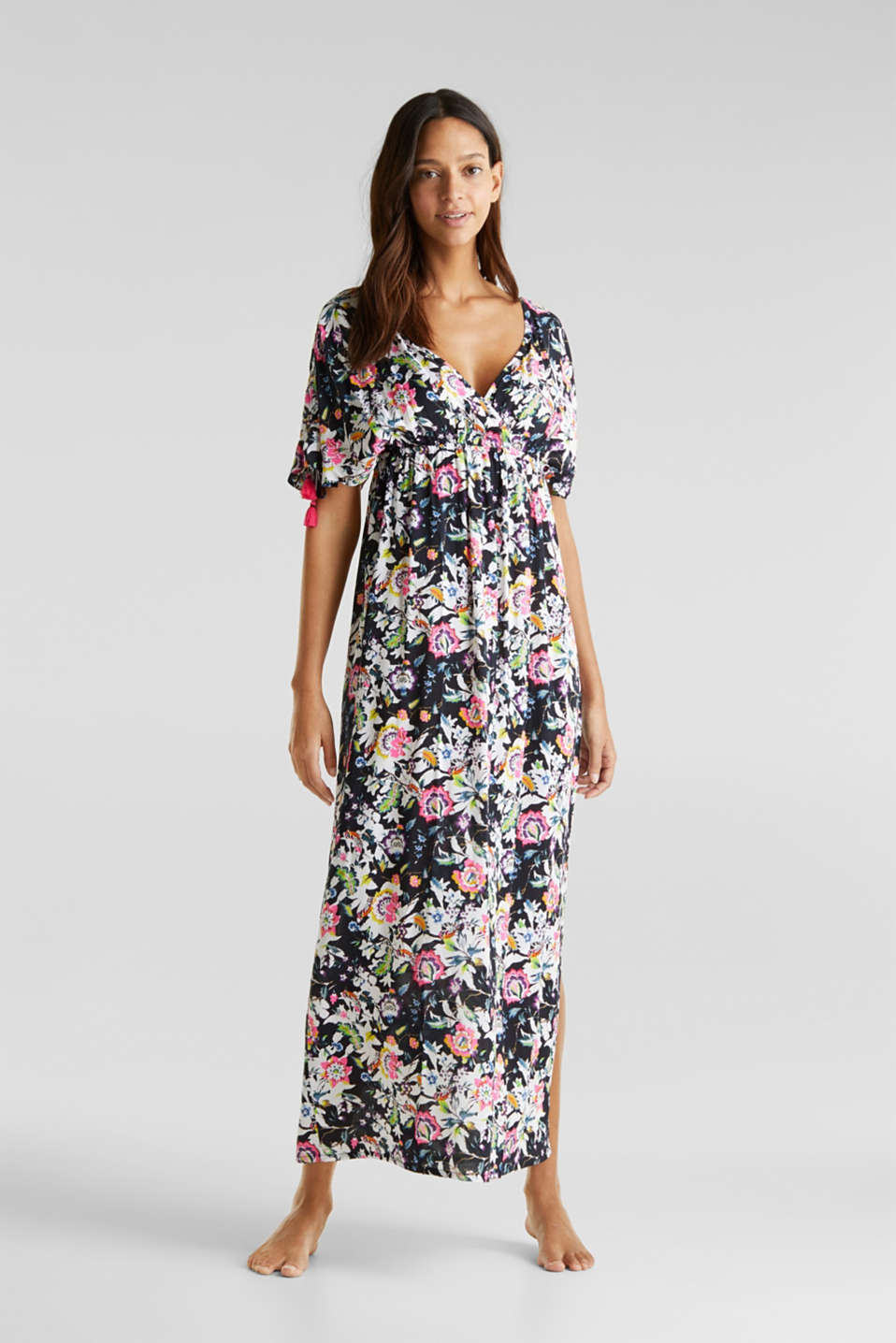 Maxi dress with a floral print, BLACK, detail image number 0
