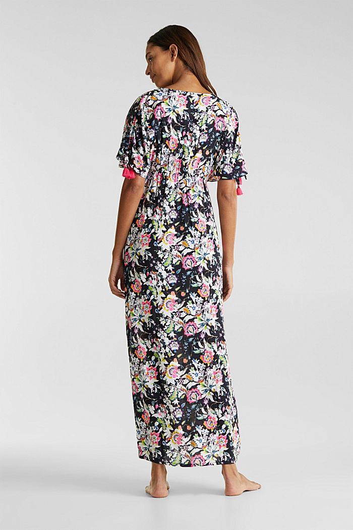 Lang kjole med blomsterprint, BLACK, detail image number 1
