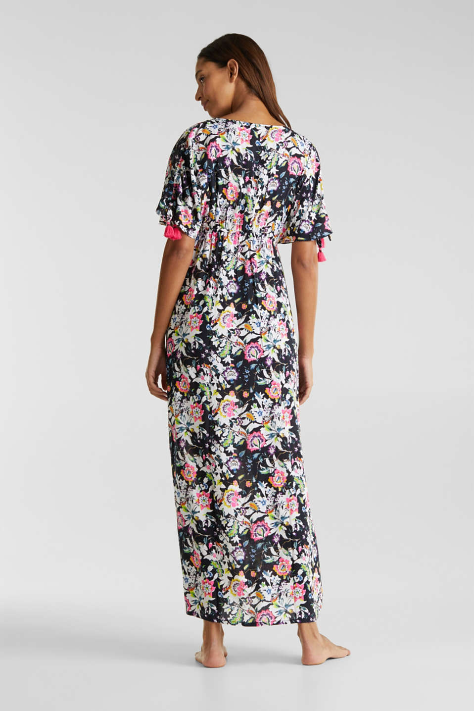 Maxi dress with a floral print, BLACK, detail image number 1