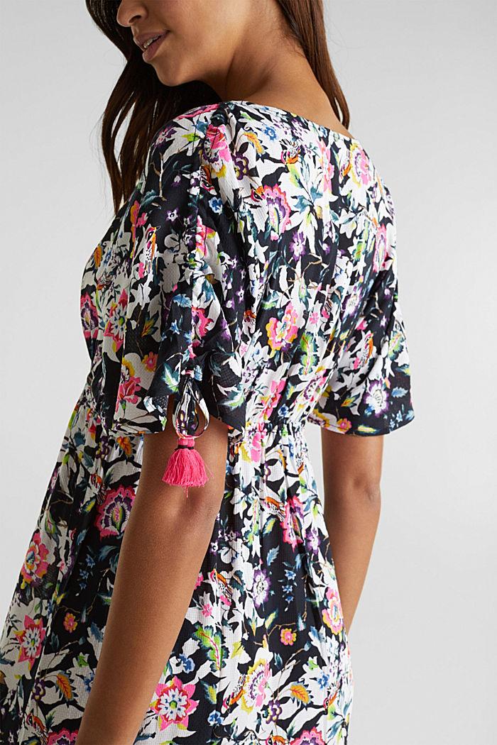 Lang kjole med blomsterprint, BLACK, detail image number 4