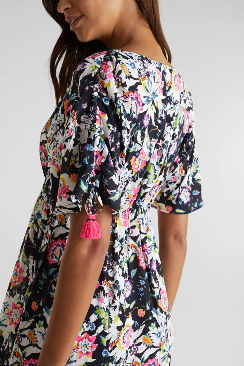 Maxi dress with a floral print, BLACK, detail image number 4