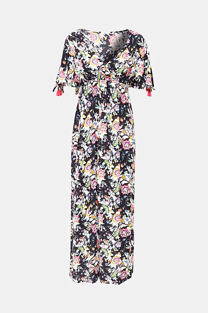Lang kjole med blomsterprint, BLACK, detail image number 3