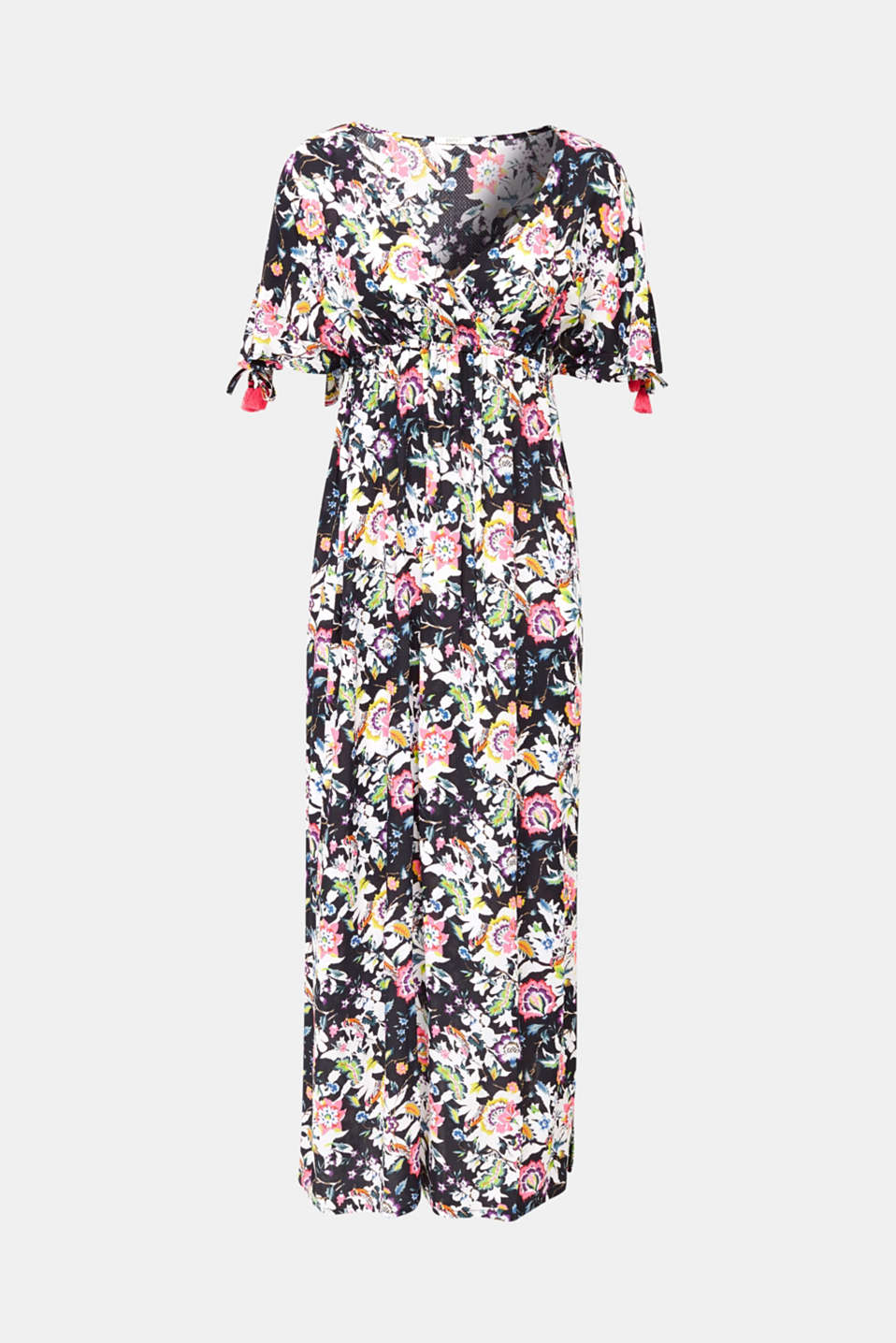Maxi dress with a floral print, BLACK, detail image number 3