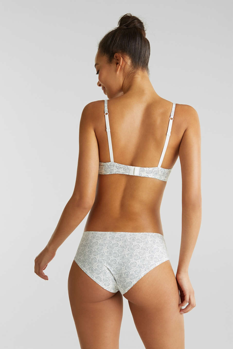 Padded underwire bra with a pixelated print, OFF WHITE, detail image number 1