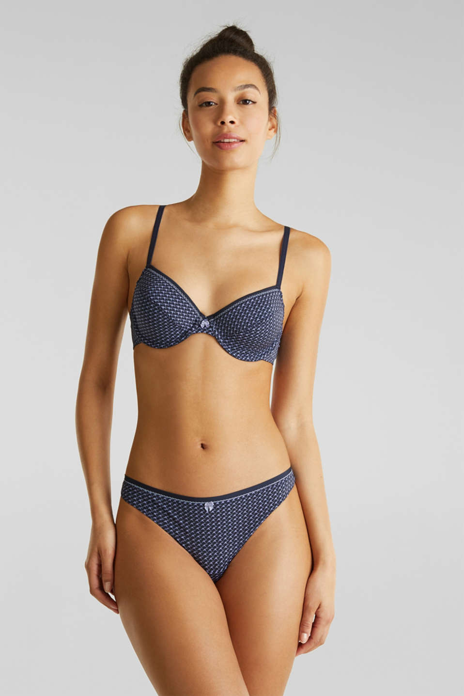 Unpadded underwire bra with a print, NAVY 2, detail image number 0